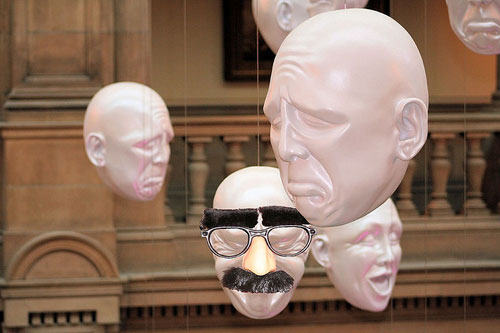 Art installation featuring Groucho Marx mask